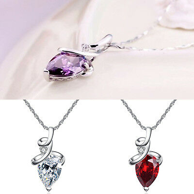 Charming Lady Silver 925 Chain Drip Crystal Zircon Pendant Necklace Jewelry Gift