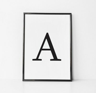 Monochrome Poster Letter Personalised Initial Typography Home Wall Art Print