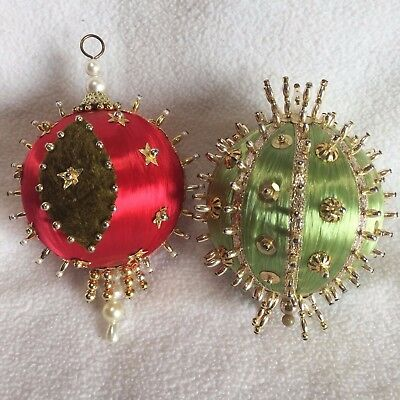 Vintage Beaded Ornament Pair Red Green Gold Beads Pearls Hand Crafted from Kit