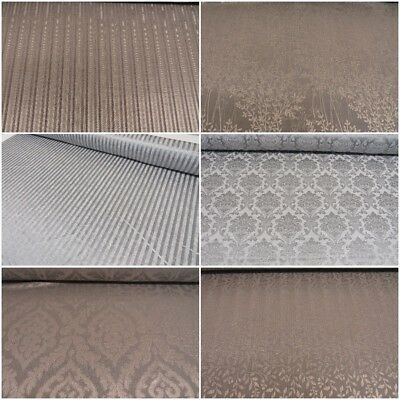Silver Grey Leaf Flowers Damask Stripe Damask Curtain Decor Fabric Upholstery