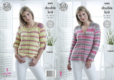 Easy Knit Round or V Neck Jumpers Womens Double Knitting Pattern King Cole 5092
