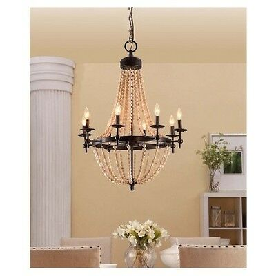 Shabby Chic Chandelier Large Beaded Rustic Victorian Vintage Style Lighting New