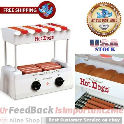 Electric Hotdog Sausage Roller Bun Warmer Stainless Steel Hot Dog Rolling Cooker