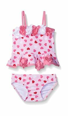 Kate Mack Girls' Be Mine Baby Heart Print Tankini Swimsuit Pink 6 Months