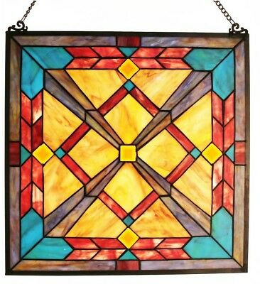 Multi-Colored Stained Glass Southwest Sunset Window Panel 100 Pieces Hand Cut.
