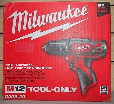"Milwaukee 2408-20 M12 Cordless 3/8"" Hammer Drill/Driver (Tool Only) -- NEW"