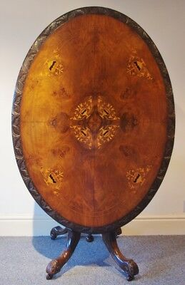 ### Lovely Quality Mid-Victorian Carved And Inlaid Loo Table ###