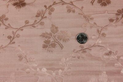 French Antique Silk Pink Damask Fabric c1890-1900~ Medium Floral Frame Layout