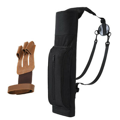 Back Arrow Quiver Hunting Archery Target Quiver with 3 Finger Archery Glove