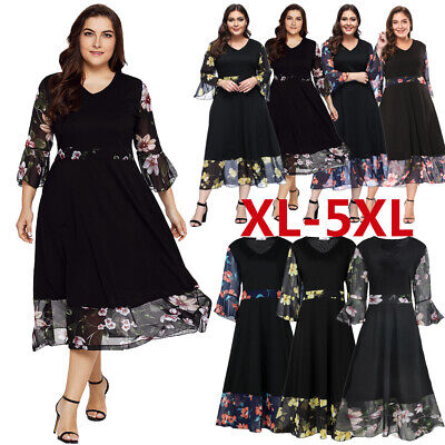 UK Women Evening Dress Flare Sleeve Chiffon Floral Plus Size Party Long Dresses