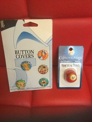 1994 Vintage Lion King Button Covers Walt Disney Mickey Mouse Shape Paper Punch