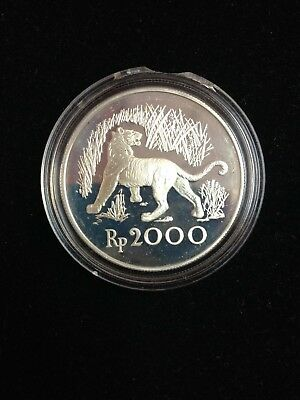 1974 Indonesia Tiger 2000 Rupiah Silver Proof Coin *CONSERVATION SERIES