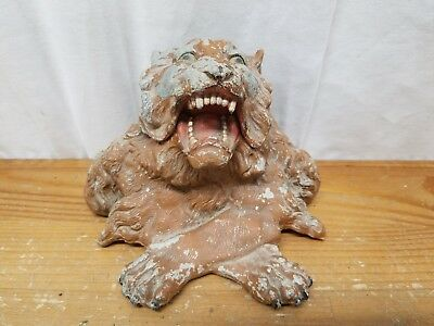 Vintage Antique Metal Roaring Lion Head Desk Inkwell Cold Painted Very Cool!!