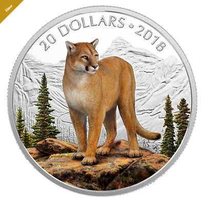 1oz 99.99% Pure Silver Coloured Coin Majestic Wildlife: Courageous Cougar (2018)