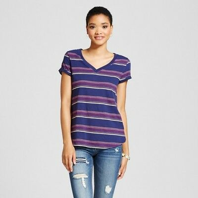 2076dbf3e WOMEN'S RELAXED V-NECK T-Shirt, Mossimo Supply Co(Juniors), XS, Blue ...