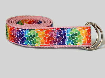 Rainbow belt for toddlers, teens D-ring arrow belt UK handmade by Belt-issimo