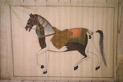 Hand-painted Pichawai  Watercolor Horse on Silk Made in India