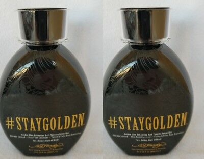 2 Ed Hardy Stay Golden #Staygolden Dark Tanning Bed Lotion 13.5 oz