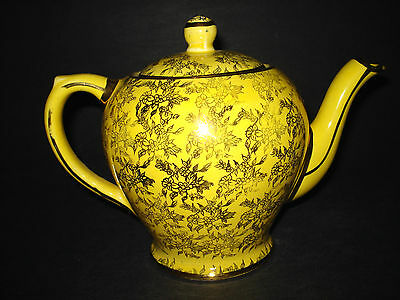 Vintage Yellow Gold Chintz Porcelain China TEAPOT Tea Pot TORONTO ENGLAND Teapot