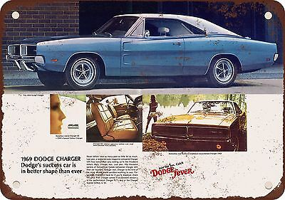 """9"""" x 12"""" Metal Sign - 1969 Dodge Charger - Vintage Look Reproduction"""