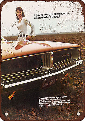 """9"""" x 12"""" Metal Sign - 1969 Dodge Charger R/T - Vintage Look Reproduction"""