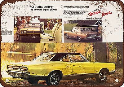 """9"""" x 12"""" Metal Sign - 1969 Dodge Coronet - Vintage Look Reproduction"""