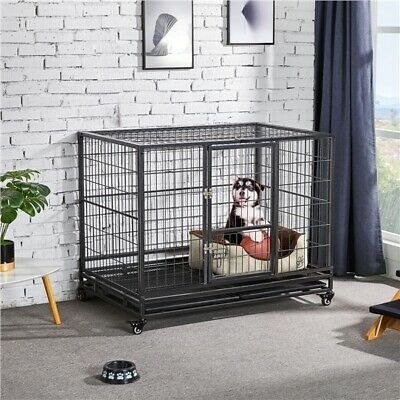 """37"""" Rolling Metal Pet Dog Crate Kennel Cage Heavy Duty Animal Playpen with Tray"""