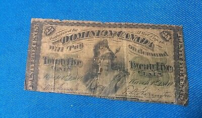 1870 25 Cents Dominion Canada Fractional Note