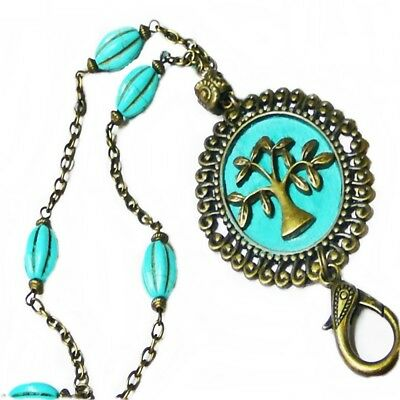 Chain Lanyard Necklace work id badge key holder, Bronzed Tree of Life silhouette