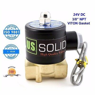"""U.S. Solid 3/8"""" 24V DC Brass Electric Solenoid Valve Air, Water Normally Closed"""