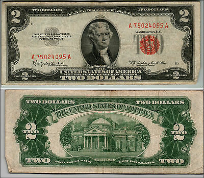 (1)-1953C  Series United States Note Red Seal $2 Two Dollar Bill  LT Z187