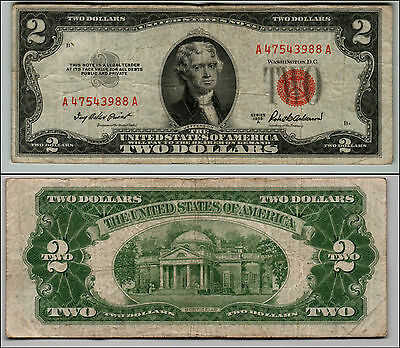 (1)-1953A  Series United States Note Red Seal $2 Two Dollar Bill  LT Q512