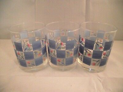 Set of 3 Lenox Poppies on Blue 12oz Double Old Fashioned Glasses