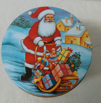 Santa Pushing Wooden Sled filled with presents christmas tall biscuit tin