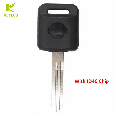 New Uncut Ignition Blank Chipped Car Key With Transponder ID46 Chip for Nissan