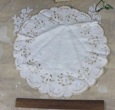 """Antique c1900 Silk On Linen """"Society Work"""" Hand Embroidery~Round/Doily~16""""LX15""""W"""