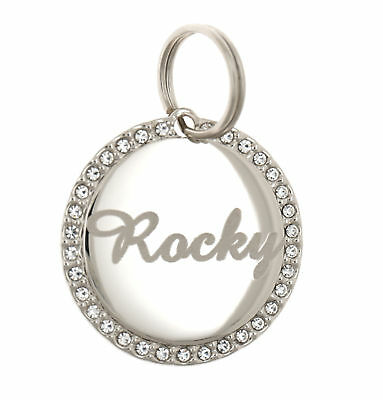 Custom Engraved Personalized Round Stainless Steel Rhinestones Pet Dog ID Tag