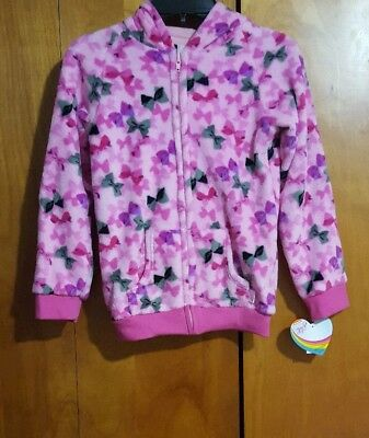 Jojo Siwa Signature Soft Plush Zip-Up Hoodie Jacket sz 7/8 Pink w Hair Bow Print