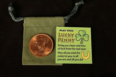 Good Luck Irish 1968 Penny in Velvet Pouch with Card - 2 Pack - MINT!