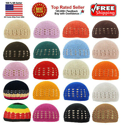 KUFI Crochet Beanie Skull Cap Knit Hat Muslim Islamic Prayer New 100% Cotton
