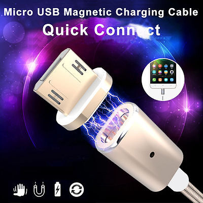 2.4A Magnetic Micro USB Charging Cable Adapter Charger For Android Samsung/LG