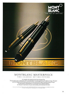 Mont Blanc Pen print ad 1988 The Classic of the Future