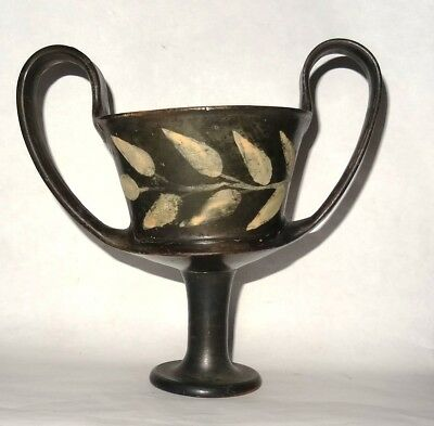 Ancient Greek Attic Black Glazed Kantharos - 4Th Century Bc -Rare Canthare Grec