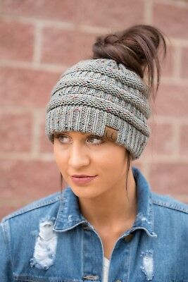 New CC Confetti Ponytail Beanie Softest Stretch Cable Messy Bun Knit Hat