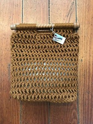 Gorgeous Macrame Vintage Bag Mustard Yellow Wooden Handles 70's Or 80's