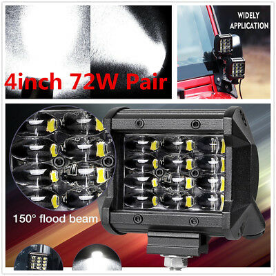 "2X 72W 4"" Grilles Cree LED Work Light Bar Flood Offroad Driving 4WD Truck SUV"