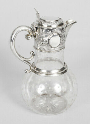 Antique Victorian Silver & Crystal Claret Jug  Ewer W & G Sissons 1864