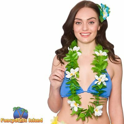 WHITE FLOWERS GREEN LEAF LEI HAWAIIAN TROPICAL fancy dress beach party luau