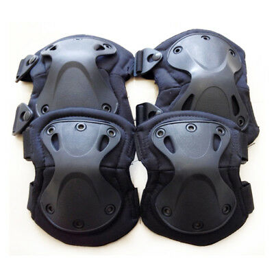 4PCS Sports Knee Elbow Protective Pad Protector Tactical Airsoft Skate Gear AU