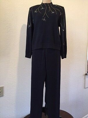 ST JOHN KNIT EVENING by MARIE GRAY BLACK PANT & MOCK NECK TOP w/BUTTERFLY DESIGN